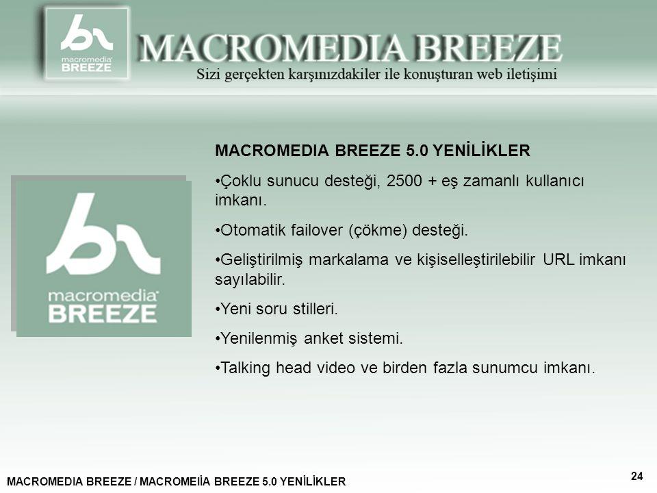 MACROMEDIA BREEZE 5.0 YENİLİKLER Çoklu sunucu desteği, 2500 + eş zamanlı kullanıcı imkanı.
