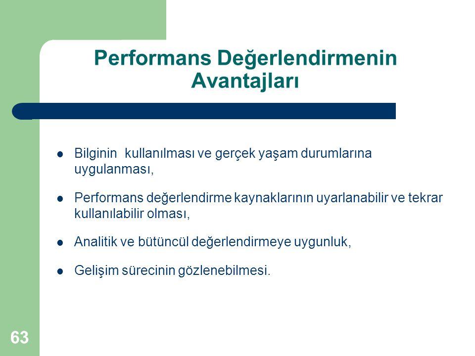 Performans Değerlendirmenin Avantajları Bilginin kullanılması ve gerçek yaşam durumlarına uygulanması, Performans değerlendirme kaynaklarının uyarlana