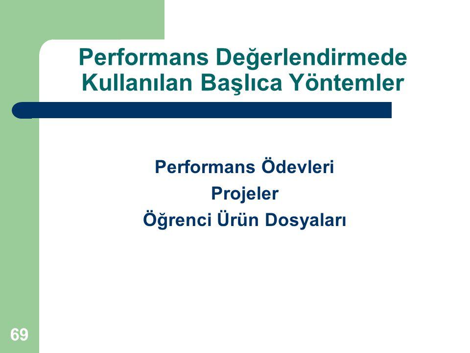 Performans Ödevleri Projeler Öğrenci Ürün Dosyaları Performans Değerlendirmede Kullanılan Başlıca Yöntemler 69