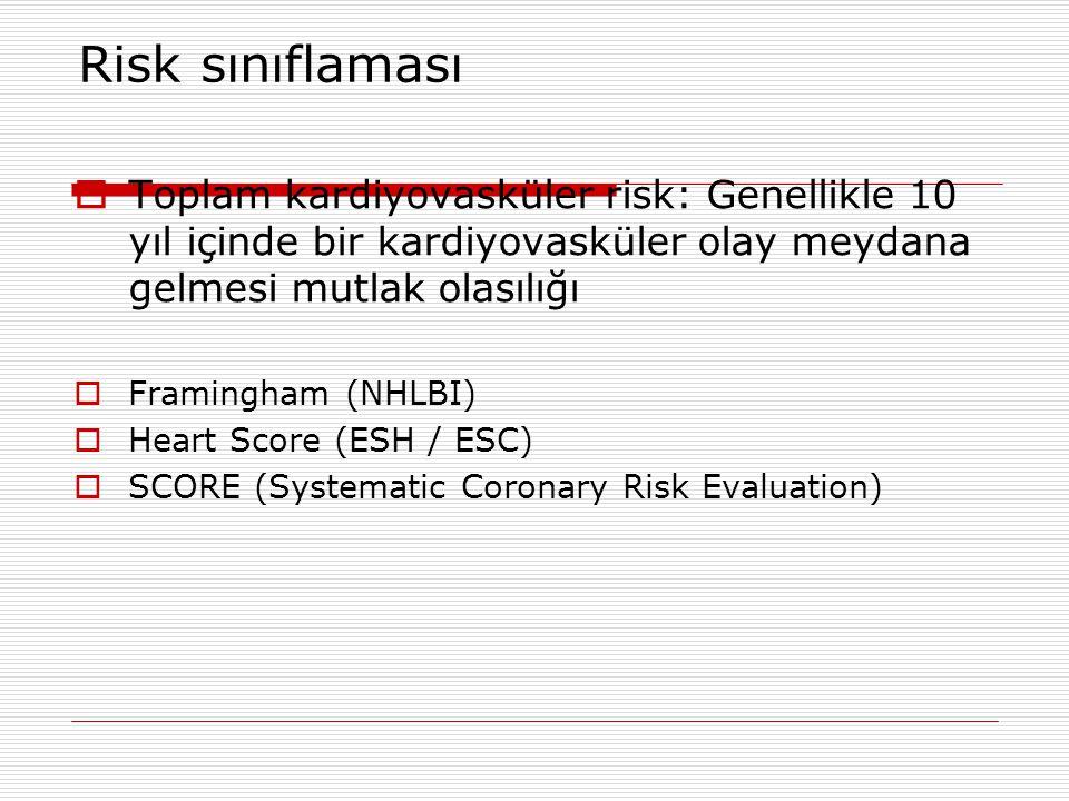 Risk sınıflaması  Toplam kardiyovasküler risk: Genellikle 10 yıl içinde bir kardiyovasküler olay meydana gelmesi mutlak olasılığı  Framingham (NHLBI)  Heart Score (ESH / ESC)  SCORE (Systematic Coronary Risk Evaluation)