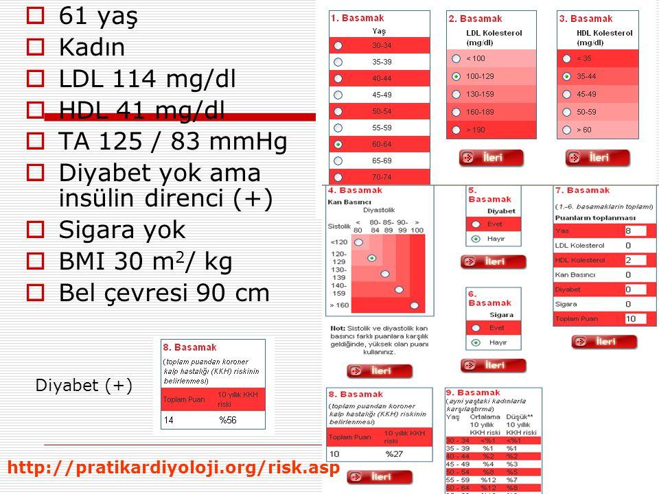  61 yaş  Kadın  LDL 114 mg/dl  HDL 41 mg/dl  TA 125 / 83 mmHg  Diyabet yok ama insülin direnci (+)  Sigara yok  BMI 30 m 2 / kg  Bel çevresi 90 cm Diyabet (+) http://pratikardiyoloji.org/risk.asp