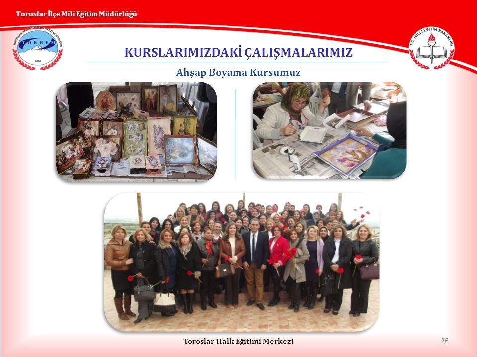 26 Toroslar Halk Eğitimi Merkezi Toroslar İlçe Mili Eğitim Müdürlüğü KURSLARIMIZDAKİ ÇALIŞMALARIMIZ Ahşap Boyama Kursumuz