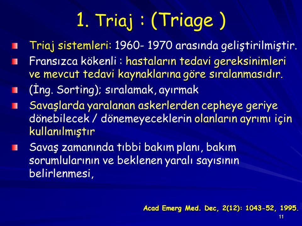11 Triaj 1. Triaj : (Triage ) Triaj sistemleri: 1960- 1970 arasında geliştirilmiştir. hastaların tedavi gereksinimleri ve mevcut tedavi kaynaklarına g