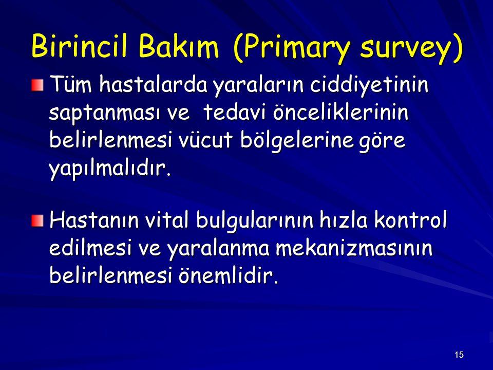 15 (Primary survey) Birincil Bakım (Primary survey) Tüm hastalarda yaraların ciddiyetinin saptanması ve tedavi önceliklerinin belirlenmesi vücut bölge