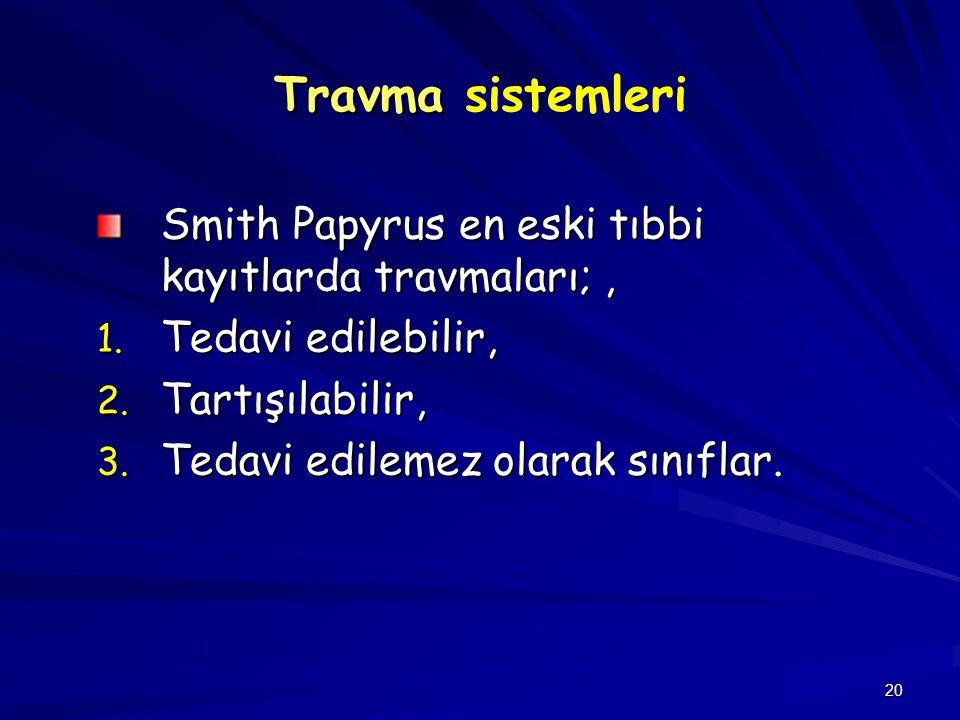 20 Travma Travma sistemleri Smith Papyrus en eski tıbbi kayıtlarda travmaları;, 1. Tedavi edilebilir, 2. Tartışılabilir, 3. Tedavi edilemez olarak sın