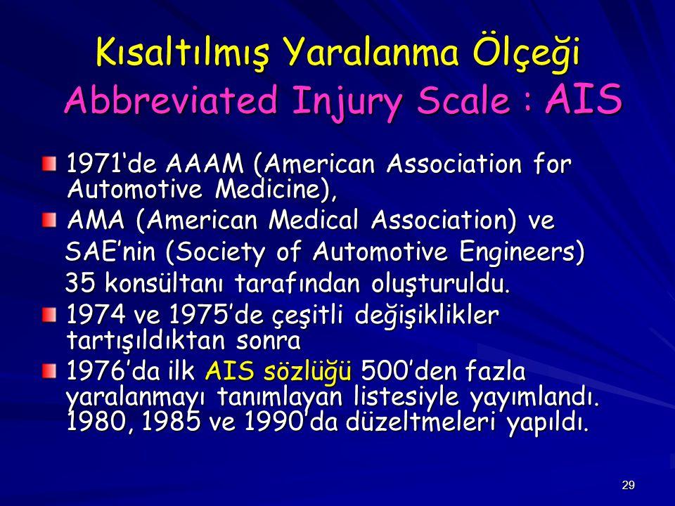 29 Kısaltılmış Yaralanma Ölçeği Abbreviated Injury Scale : AIS 1971'de AAAM (American Association for Automotive Medicine), AMA (American Medical Asso