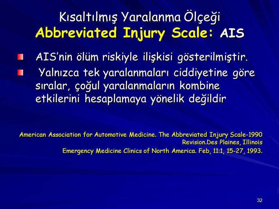 32 Kısaltılmış Yaralanma Ölçeği Abbreviated Injury Scale: AIS AIS'nin ölüm riskiyle ilişkisi gösterilmiştir. Yalnızca tek yaralanmaları ciddiyetine gö