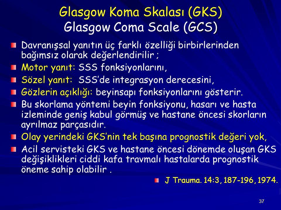 37 GCS) Glasgow Koma Skalası (GKS) Glasgow Coma Scale (GCS) Davranışsal yanıtın üç farklı özelliği birbirlerinden bağımsız olarak değerlendirilir ; Mo