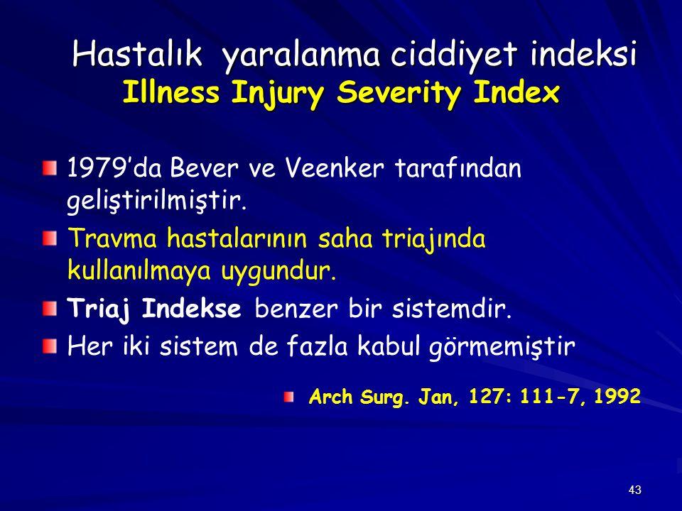 43 Hastalık yaralanma ciddiyet indeksi Illness Injury Severity Index Hastalık yaralanma ciddiyet indeksi Illness Injury Severity Index 1979'da Bever v