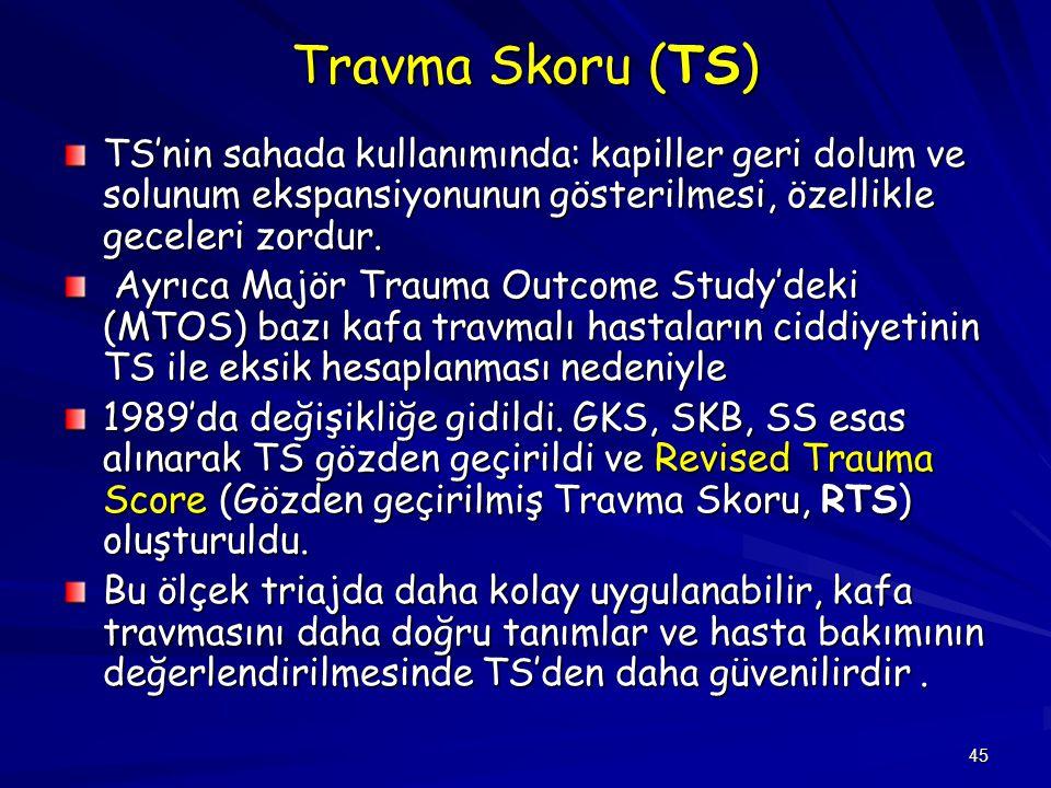 45 Travma Skoru (TS) TS'nin sahada kullanımında: kapiller geri dolum ve solunum ekspansiyonunun gösterilmesi, özellikle geceleri zordur. Ayrıca Majör