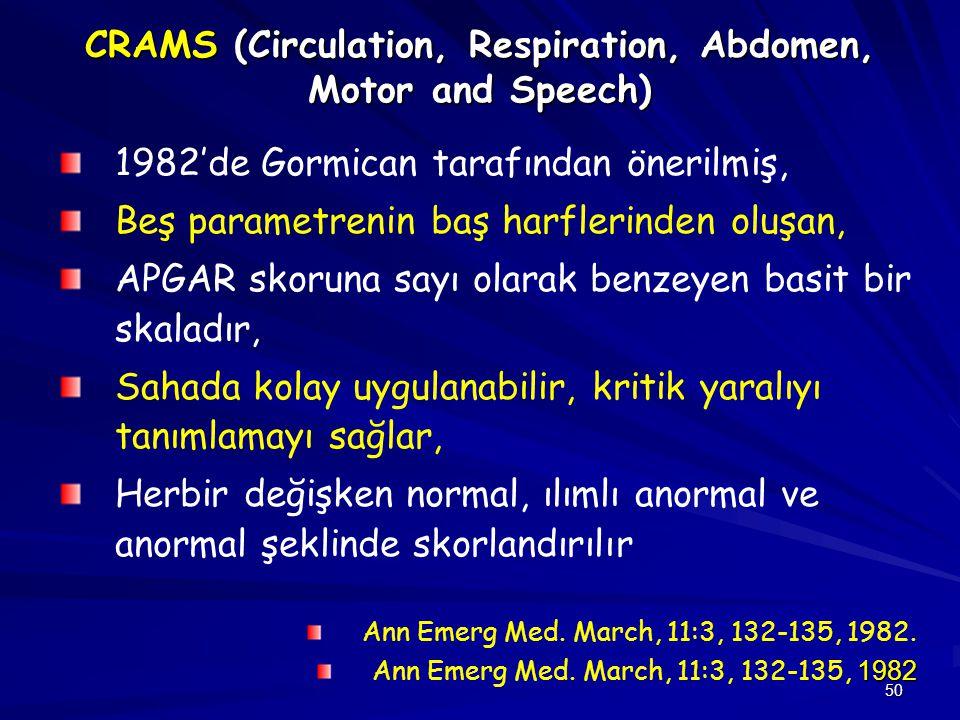 50 CRAMS (Circulation, Respiration, Abdomen, Motor and Speech) 1982'de Gormican tarafından önerilmiş, Beş parametrenin baş harflerinden oluşan, APGAR