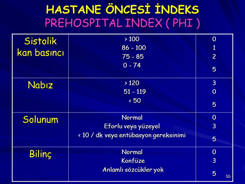 55 HASTANE ÖNCESİ İNDEKS PREHOSPITAL INDEX ( PHI ) Sistolik kan basıncı > 100 86 - 100 86 - 100 75 - 85 75 - 85 0 - 74 0125 Nabız > 120 51 - 119 51 -