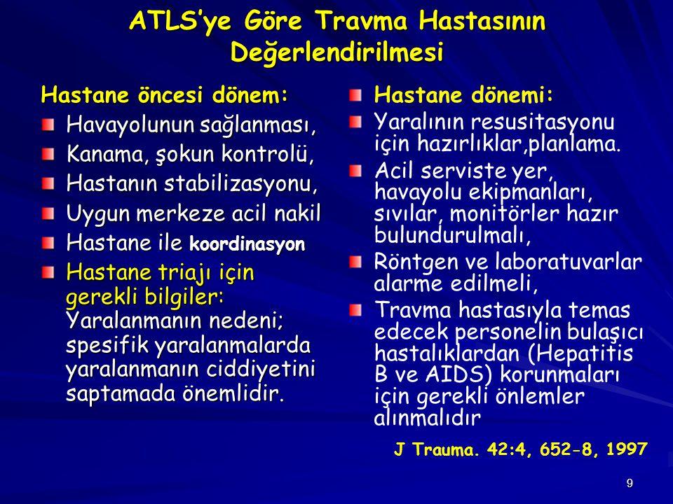 9 ATLS'ye Göre Travma Hastasının Değerlendirilmesi Hastane öncesi dönem: Havayolunun sağlanması, Kanama, şokun kontrolü, Hastanın stabilizasyonu, Uygu