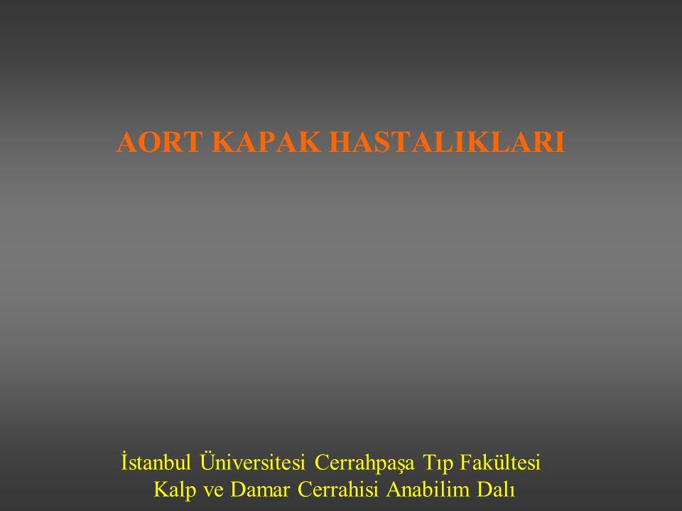 İstanbul Üniversitesi Cerrahpaşa Tıp Fakültesi Kalp ve Damar Cerrahisi Anabilim Dalı AORT KAPAK HASTALIKLARI