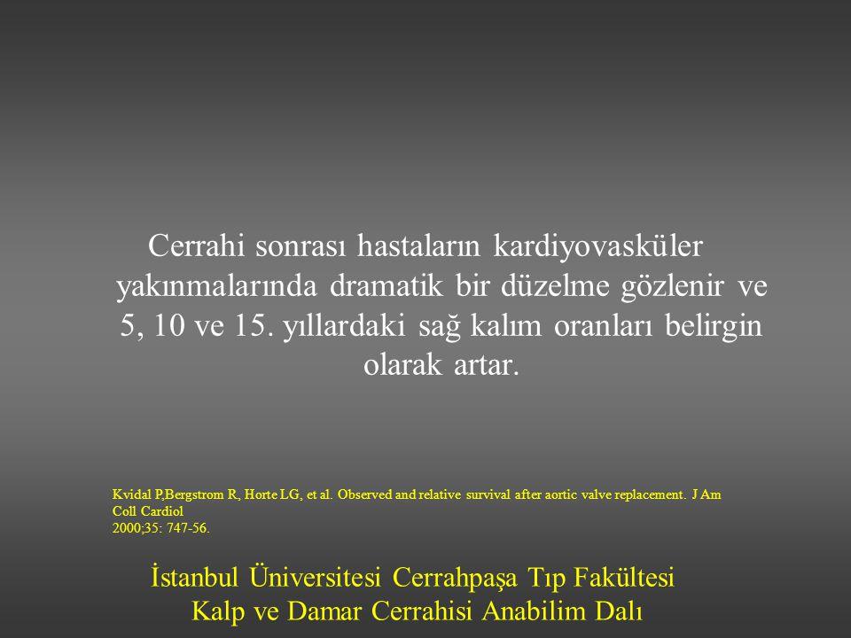 İstanbul Üniversitesi Cerrahpaşa Tıp Fakültesi Kalp ve Damar Cerrahisi Anabilim Dalı Cerrahi sonrası hastaların kardiyovasküler yakınmalarında dramati