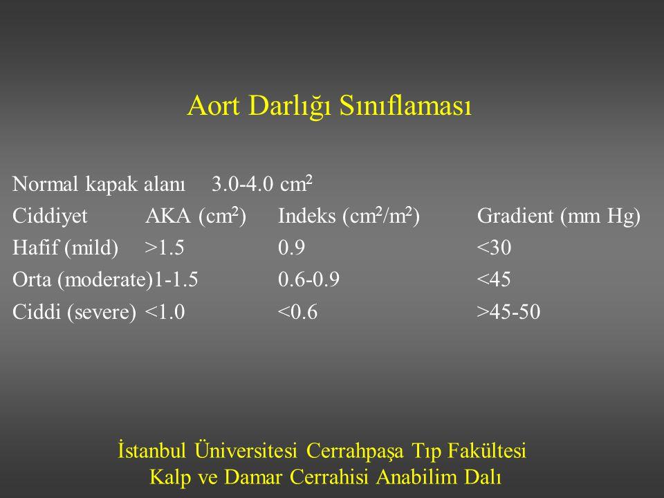 İstanbul Üniversitesi Cerrahpaşa Tıp Fakültesi Kalp ve Damar Cerrahisi Anabilim Dalı Aort Darlığı Sınıflaması Normal kapak alanı3.0-4.0 cm 2 CiddiyetA