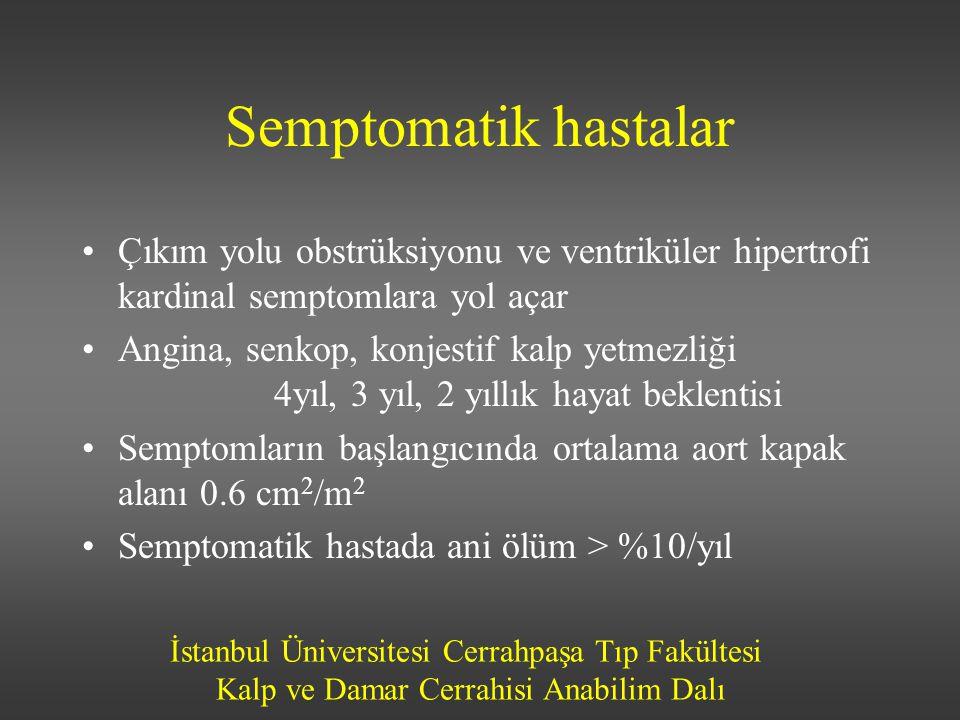 İstanbul Üniversitesi Cerrahpaşa Tıp Fakültesi Kalp ve Damar Cerrahisi Anabilim Dalı Semptomatik hastalar Çıkım yolu obstrüksiyonu ve ventriküler hipe