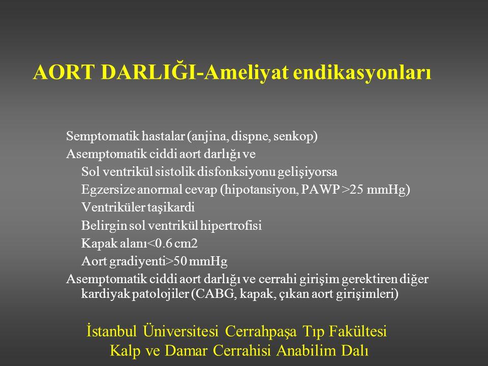 İstanbul Üniversitesi Cerrahpaşa Tıp Fakültesi Kalp ve Damar Cerrahisi Anabilim Dalı AORT DARLIĞI-Ameliyat endikasyonları Semptomatik hastalar (anjina