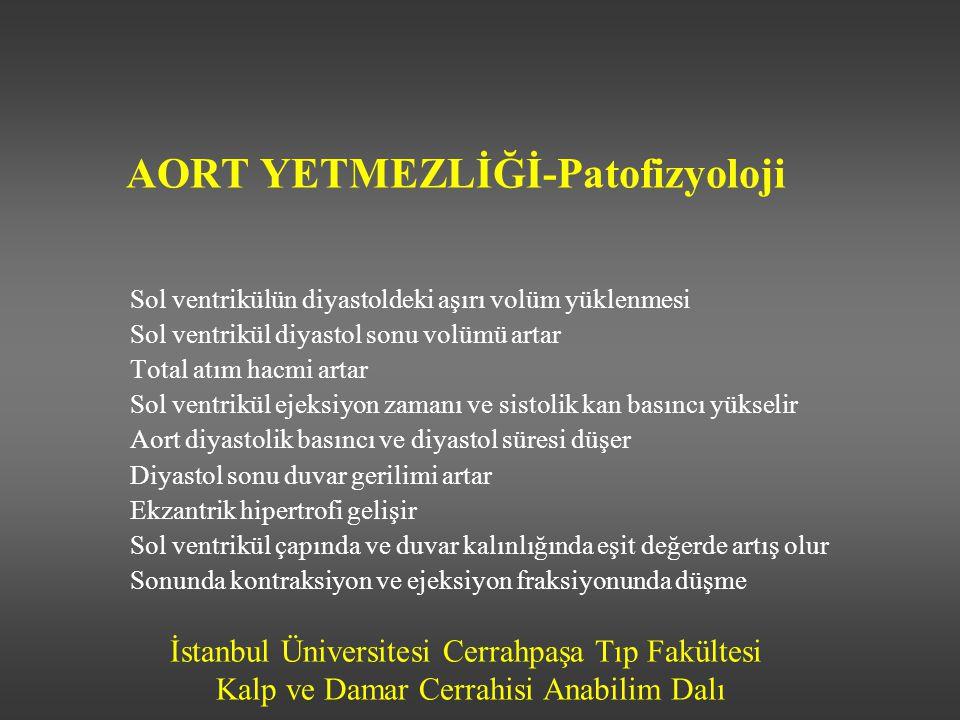 İstanbul Üniversitesi Cerrahpaşa Tıp Fakültesi Kalp ve Damar Cerrahisi Anabilim Dalı AORT YETMEZLİĞİ-Patofizyoloji Sol ventrikülün diyastoldeki aşırı