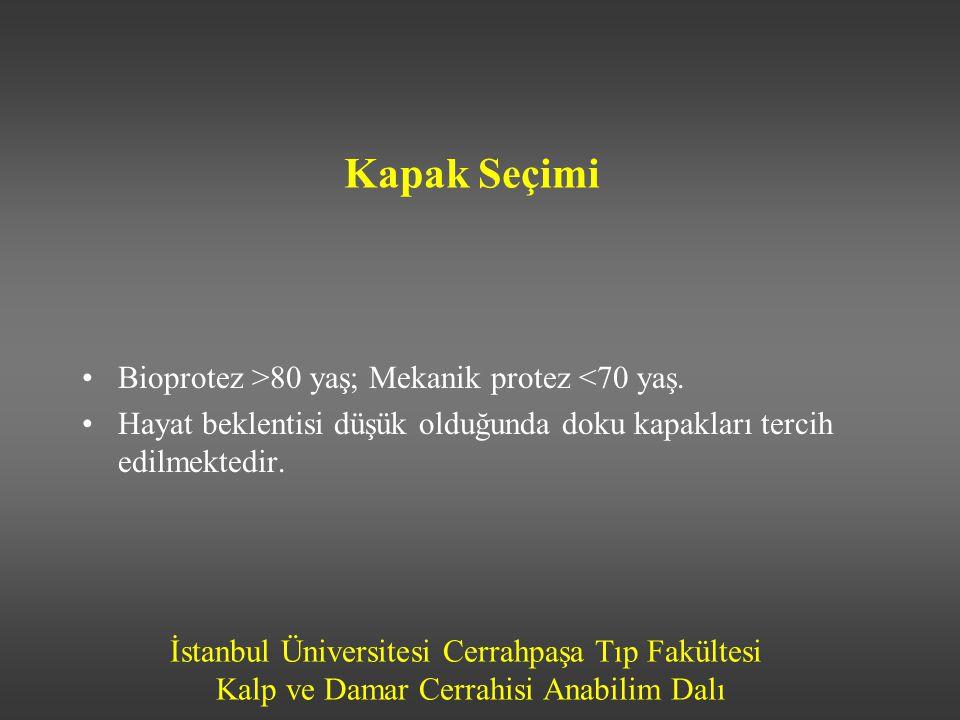 İstanbul Üniversitesi Cerrahpaşa Tıp Fakültesi Kalp ve Damar Cerrahisi Anabilim Dalı Kapak Seçimi Bioprotez >80 yaş; Mekanik protez <70 yaş. Hayat bek