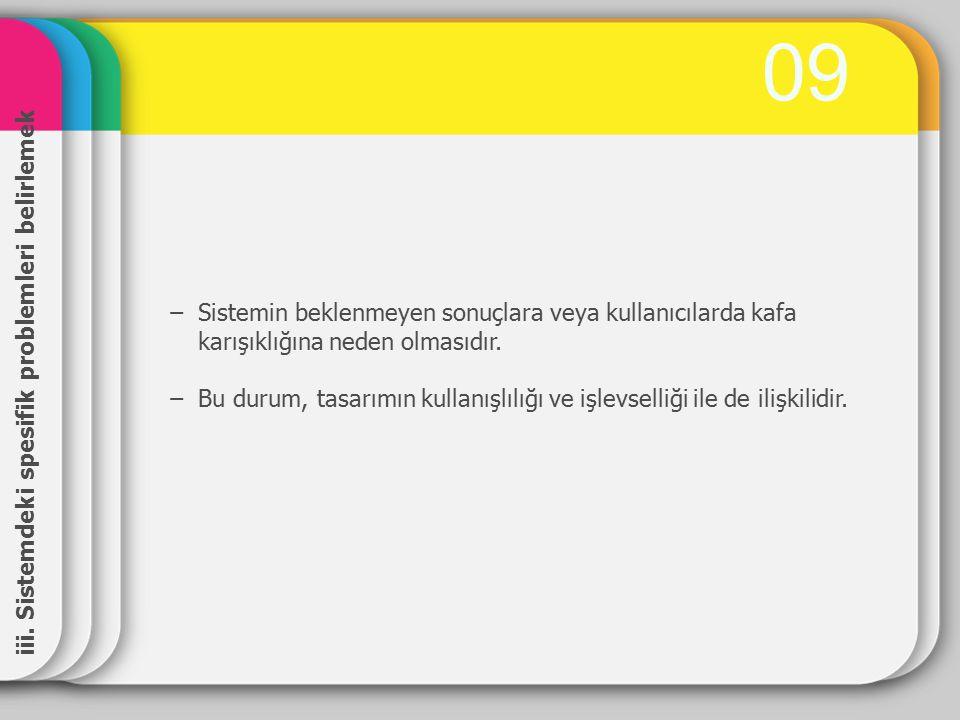 0909 iii. Sistemdeki spesifik problemleri belirlemek −Sistemin beklenmeyen sonuçlara veya kullanıcılarda kafa karışıklığına neden olmasıdır. −Bu durum