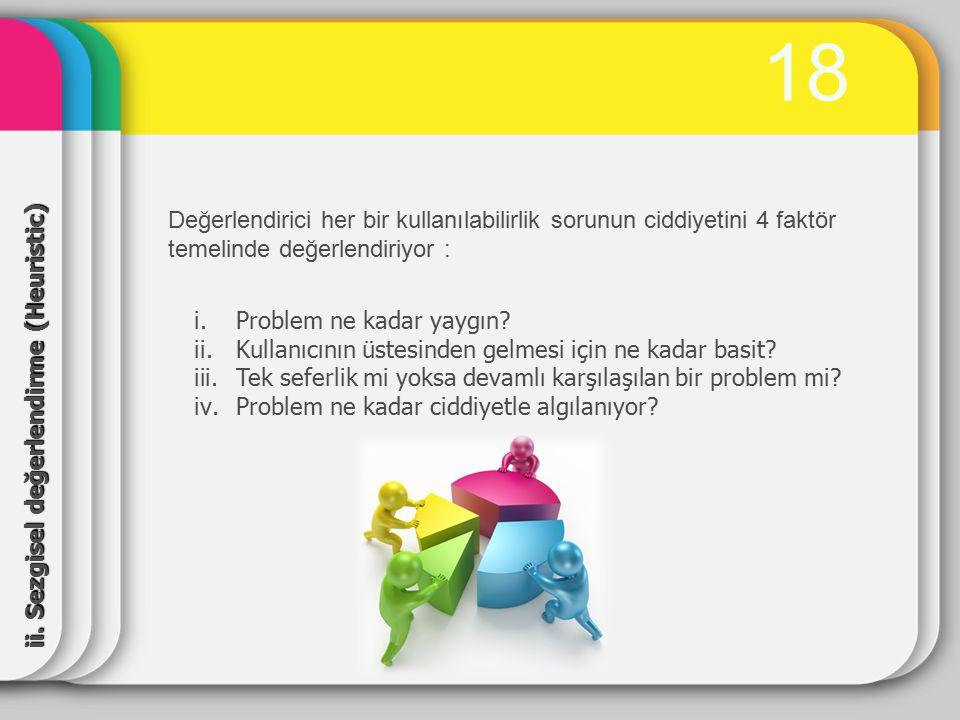 19 Değerlendirme yapılırken Nielsen'in 10 sezgisel bazı ele alınır, 1.