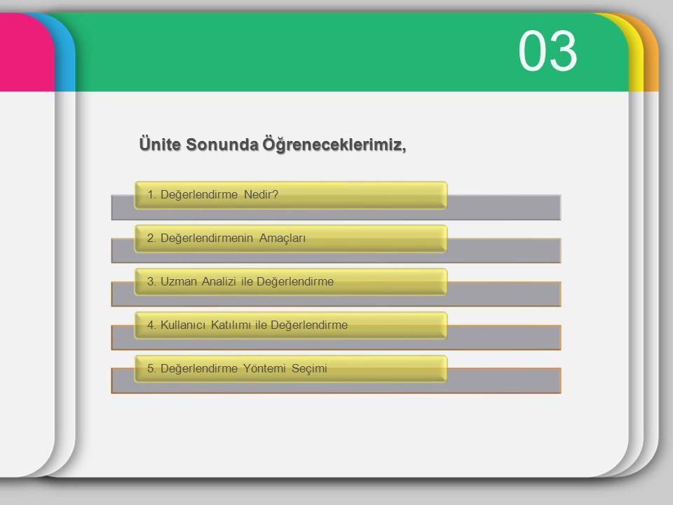 03 1. Değerlendirme Nedir?2. Değerlendirmenin Amaçları3. Uzman Analizi ile Değerlendirme4. Kullanıcı Katılımı ile Değerlendirme5. Değerlendirme Yöntem