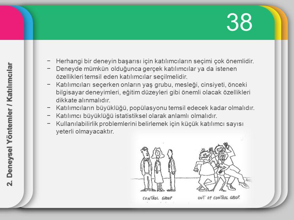 38 2. Deneysel Yöntemler / Katılımcılar −Herhangi bir deneyin başarısı için katılımcıların seçimi çok önemlidir. −Deneyde mümkün olduğunca gerçek katı