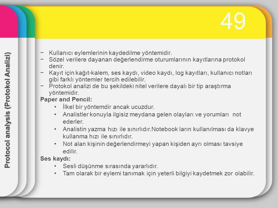 50 Automated analysis(otomatik analiz) −Video, ses ve sistem kayıtları gibi analiz protokolleri zaman tüketicidir ve elle yapılması sıkıcıdır.