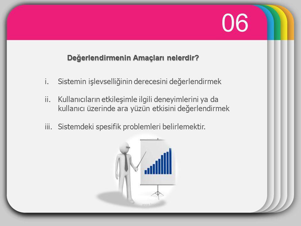0707 i.Sistemin işlevselliğini değerlendirmek − Sistemin işlevselliği kullanıcının gereksinimleriyle uyumlu olmalıdır.