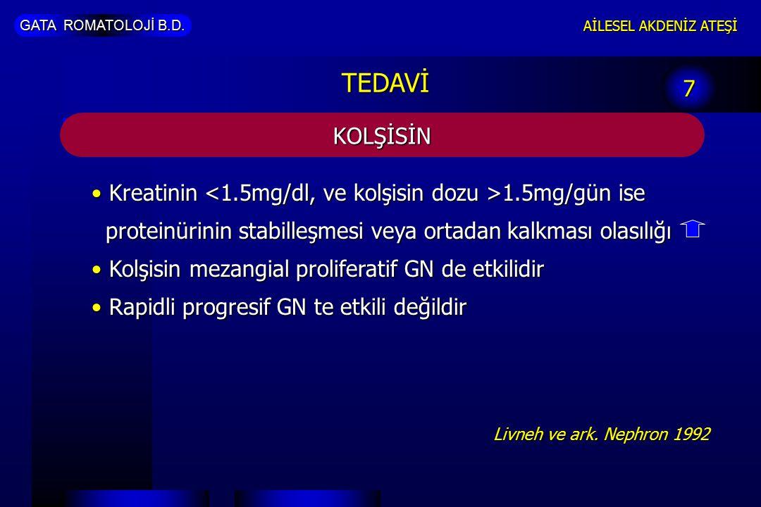 GATA ROMATOLOJİ B.D. AİLESEL AKDENİZ ATEŞİ KOLŞİSİN 7 TEDAVİ Kreatinin 1.5mg/gün ise proteinürinin stabilleşmesi veya ortadan kalkması olasılığı Kreat