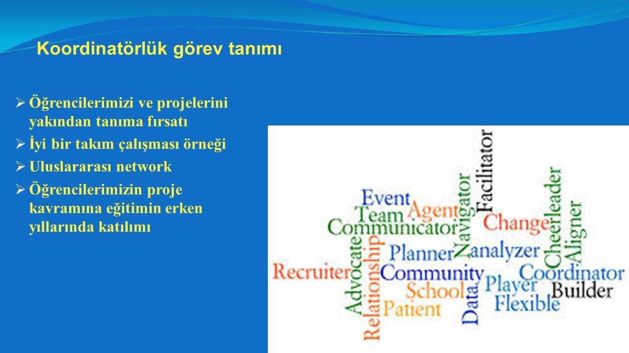 Koordinatörlük görev tanımı  Öğrencilerimizi ve projelerini yakından tanıma fırsatı  İyi bir takım çalışması örneği  Uluslararası network  Öğrencilerimizin proje kavramına eğitimin erken yıllarında katılımı