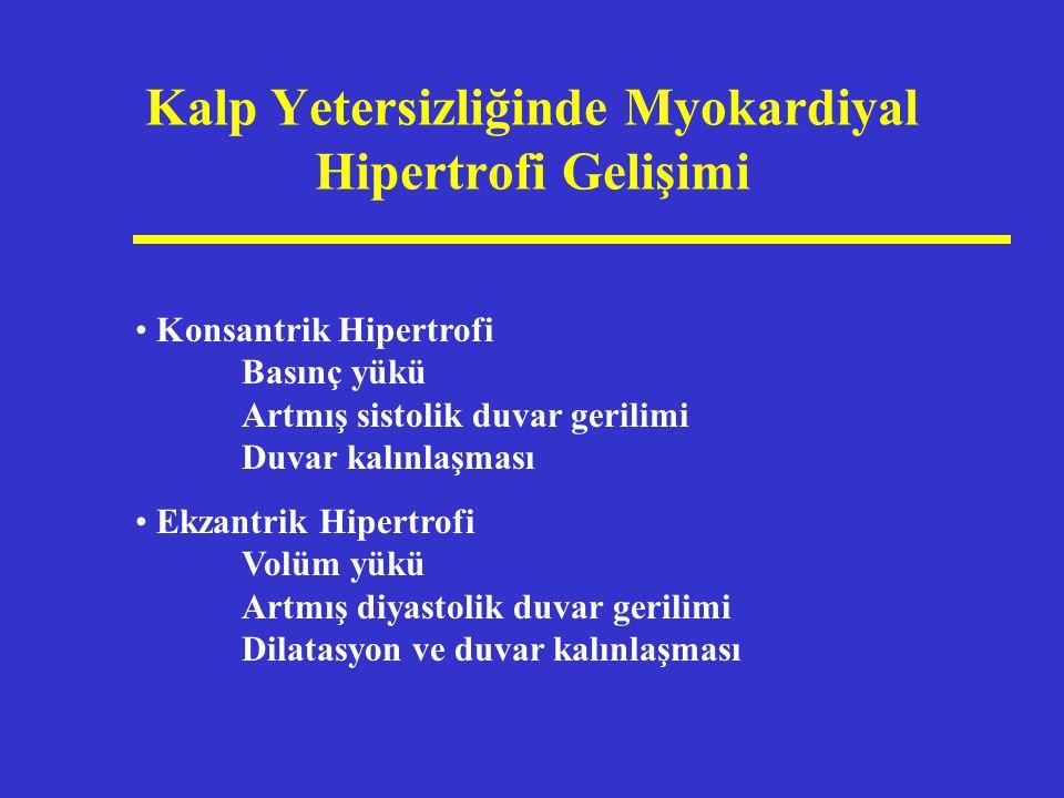 Kalp Yetersizliğinde Myokardiyal Hipertrofi Gelişimi Konsantrik Hipertrofi Basınç yükü Artmış sistolik duvar gerilimi Duvar kalınlaşması Ekzantrik Hip