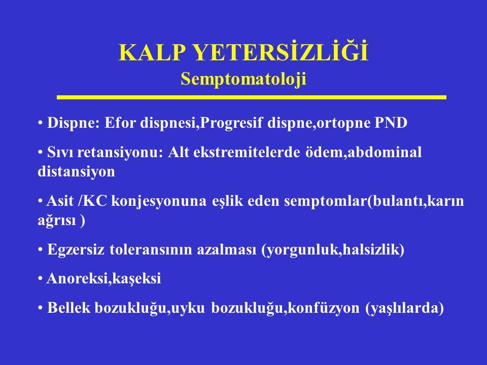 KALP YETERSİZLİĞİ Semptomatoloji Dispne: Efor dispnesi,Progresif dispne,ortopne PND Sıvı retansiyonu: Alt ekstremitelerde ödem,abdominal distansiyon A