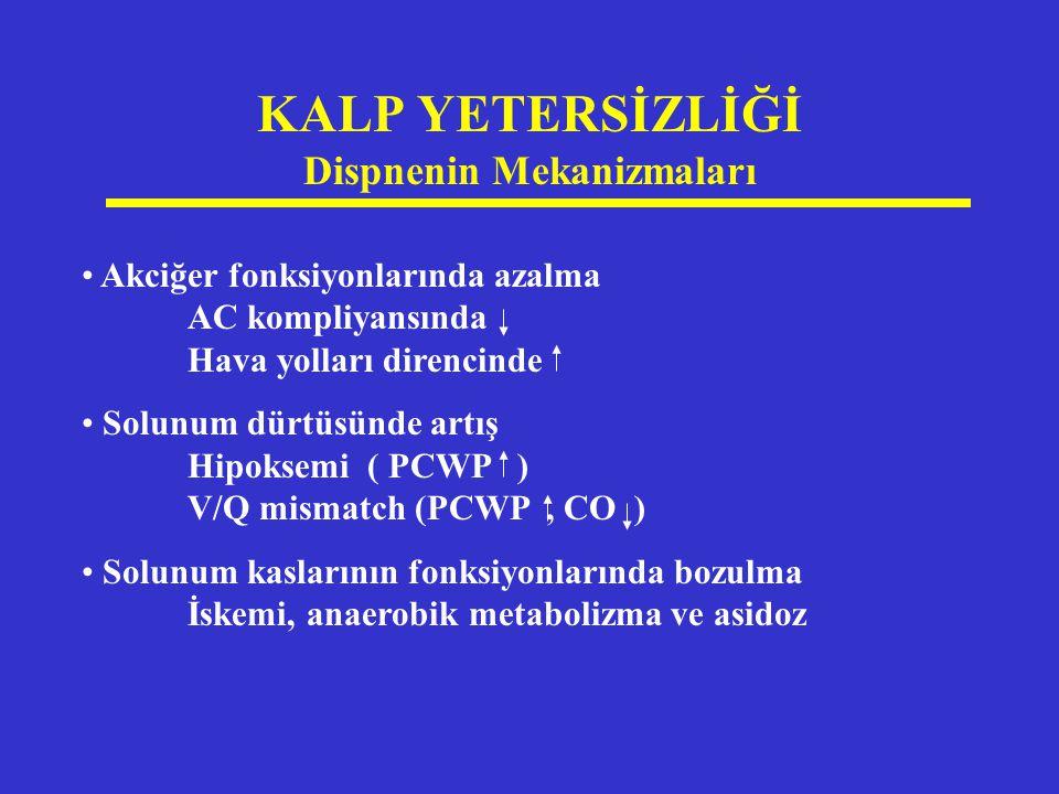 KALP YETERSİZLİĞİ Dispnenin Mekanizmaları Akciğer fonksiyonlarında azalma AC kompliyansında Hava yolları direncinde Solunum dürtüsünde artış Hipoksemi