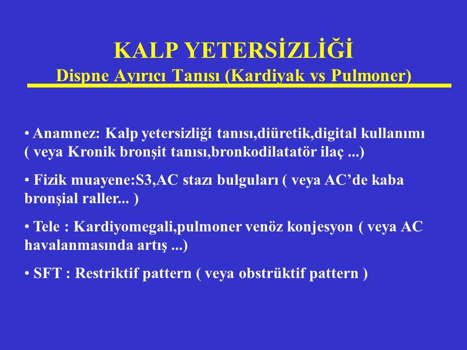 KALP YETERSİZLİĞİ Dispne Ayırıcı Tanısı (Kardiyak vs Pulmoner) Anamnez: Kalp yetersizliği tanısı,diüretik,digital kullanımı ( veya Kronik bronşit tanı