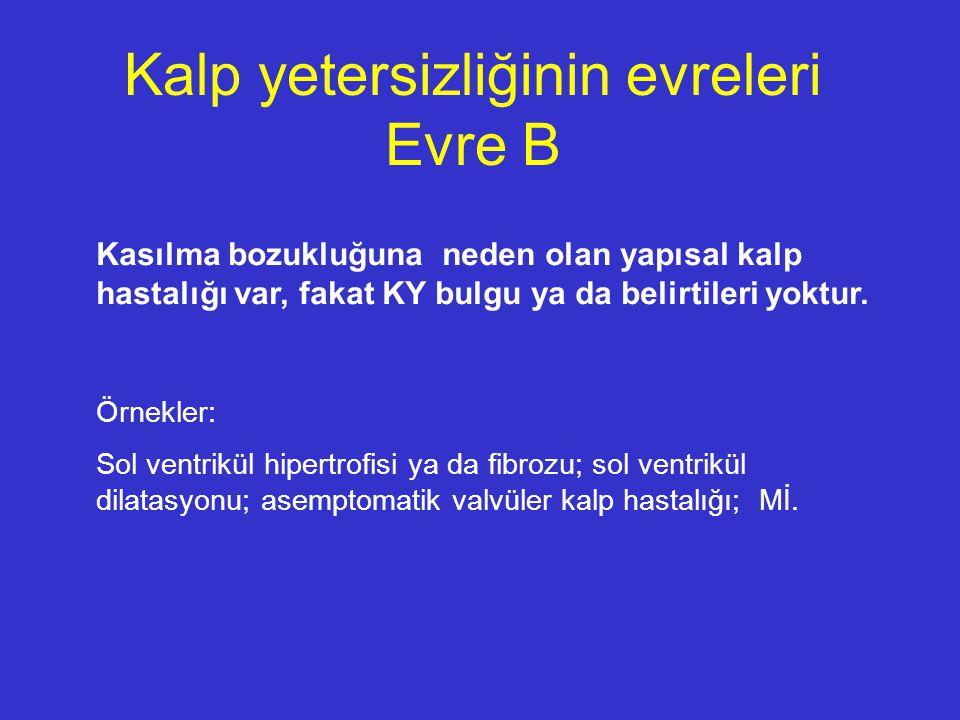 Örnekler: Sol ventrikül hipertrofisi ya da fibrozu; sol ventrikül dilatasyonu; asemptomatik valvüler kalp hastalığı; Mİ. Kalp yetersizliğinin evreleri