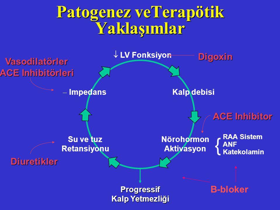Patogenez veTerapötik Yaklaşımlar  LV Fonksiyon Kalp debisi Nörohormon Aktivasyon Progressif Kalp Yetmezliği Diuretikler Vasodilatörler ACE Inhibitör
