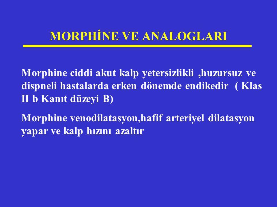MORPHİNE VE ANALOGLARI Morphine ciddi akut kalp yetersizlikli,huzursuz ve dispneli hastalarda erken dönemde endikedir ( Klas II b Kanıt düzeyi B) Morp