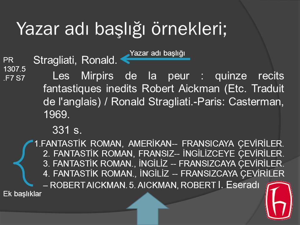 Yazar adı başlığı örnekleri; Stragliati, Ronald. Les Mirpirs de la peur : quinze recits fantastiques inedits Robert Aickman (Etc. Traduit de l'anglais