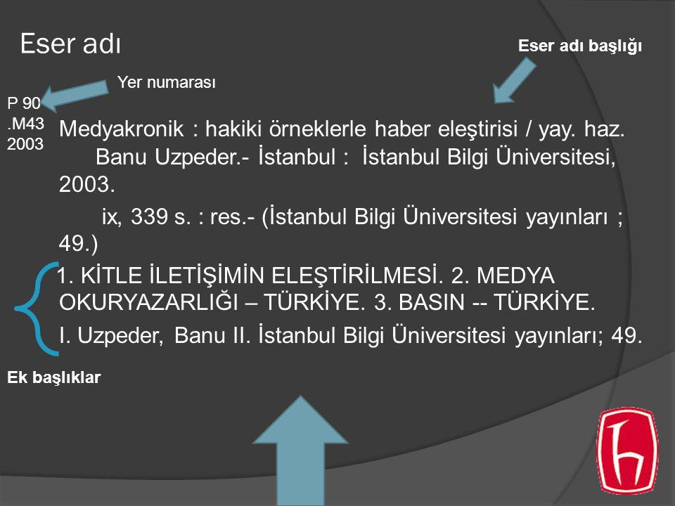 Eser adı Medyakronik : hakiki örneklerle haber eleştirisi / yay. haz. Banu Uzpeder.- İstanbul : İstanbul Bilgi Üniversitesi, 2003. ix, 339 s. : res.-