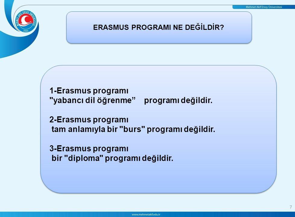 le 7 ERASMUS PROGRAMI NE DEĞİLDİR. 1-Erasmus programı yabancı dil öğrenme programı değildir.