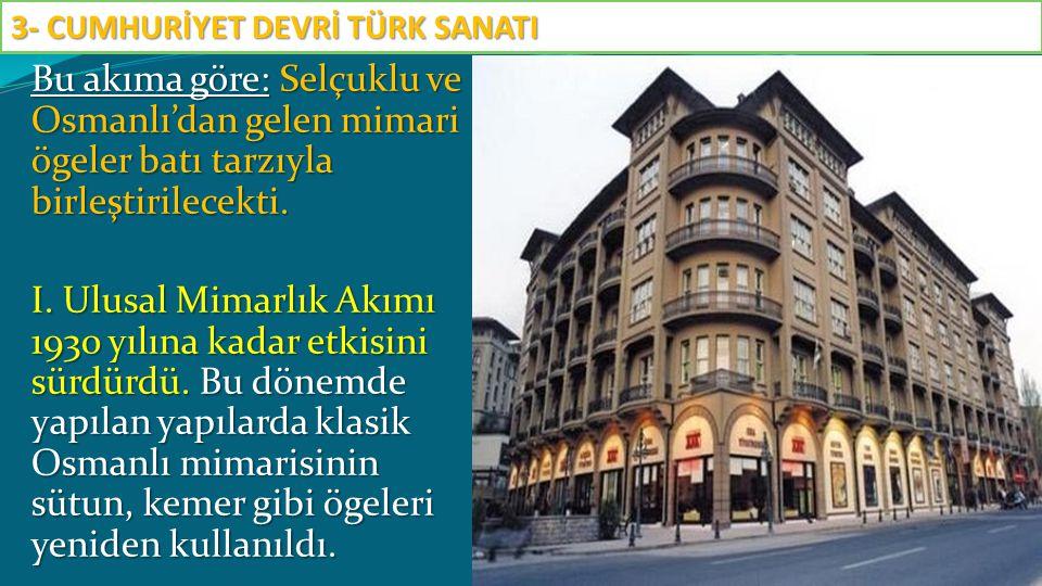 Bu akıma göre: Selçuklu ve Osmanlı'dan gelen mimari ögeler batı tarzıyla birleştirilecekti. I. Ulusal Mimarlık Akımı 1930 yılına kadar etkisini sürdür