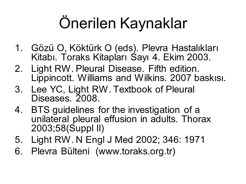 Önerilen Kaynaklar 1.Gözü O, Köktürk O (eds). Plevra Hastalıkları Kitabı. Toraks Kitapları Sayı 4. Ekim 2003. 2.Light RW. Pleural Disease. Fifth editi
