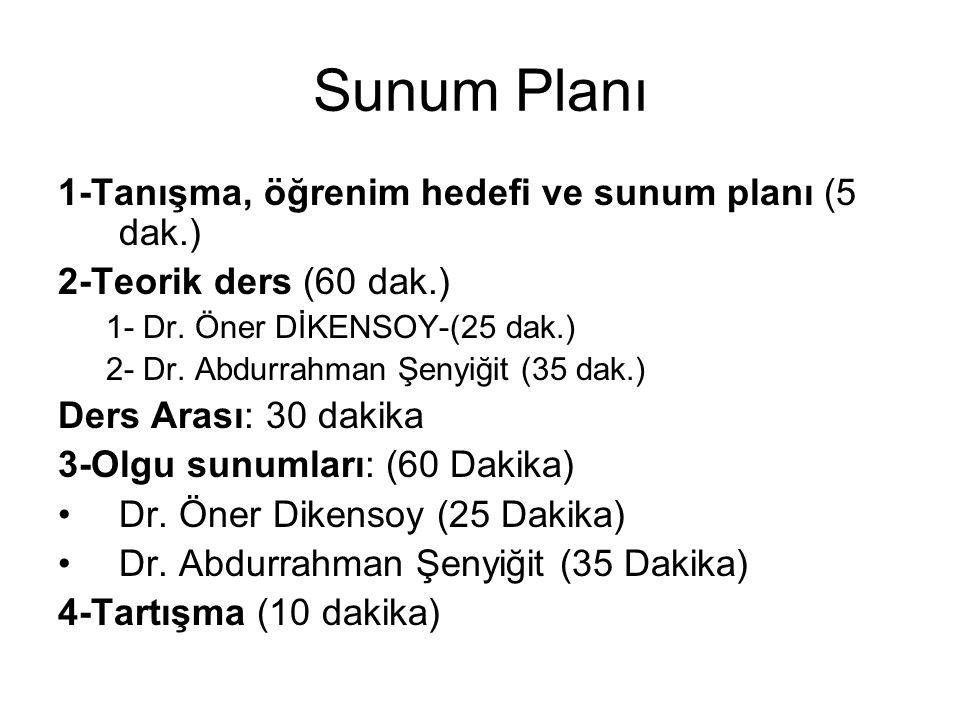 Sunum Planı 1-Tanışma, öğrenim hedefi ve sunum planı (5 dak.) 2-Teorik ders (60 dak.) 1- Dr. Öner DİKENSOY-(25 dak.) 2- Dr. Abdurrahman Şenyiğit (35 d