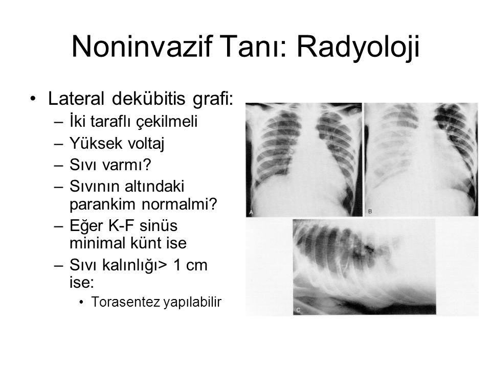 Noninvazif Tanı: Radyoloji Lateral dekübitis grafi: –İki taraflı çekilmeli –Yüksek voltaj –Sıvı varmı? –Sıvının altındaki parankim normalmi? –Eğer K-F