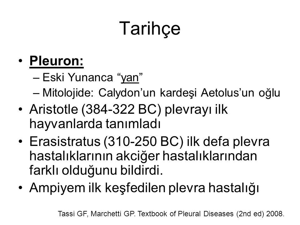 Tarihçe Pleuron: –Eski Yunanca yan –Mitolojide: Calydon'un kardeşi Aetolus'un oğlu Aristotle (384-322 BC) plevrayı ilk hayvanlarda tanımladı Erasistratus (310-250 BC) ilk defa plevra hastalıklarının akciğer hastalıklarından farklı olduğunu bildirdi.