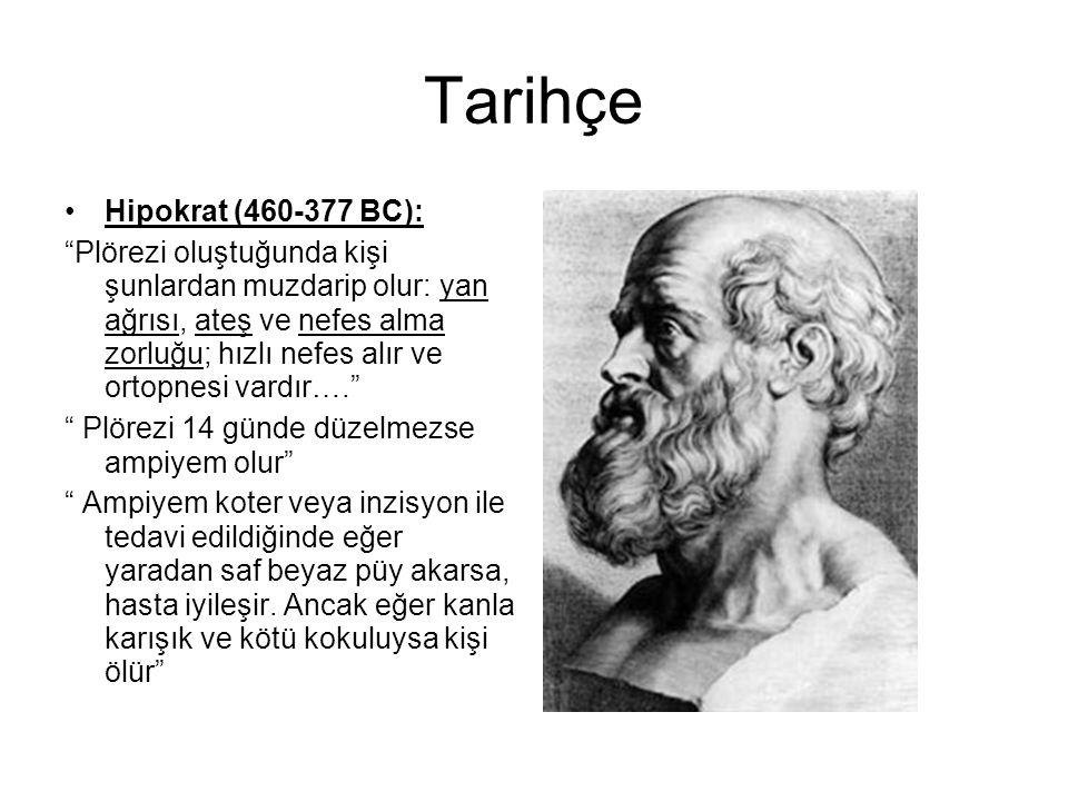 """Tarihçe Hipokrat (460-377 BC): """"Plörezi oluştuğunda kişi şunlardan muzdarip olur: yan ağrısı, ateş ve nefes alma zorluğu; hızlı nefes alır ve ortopnes"""