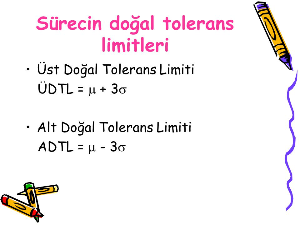 Sürecin doğal tolerans limitleri Üst Doğal Tolerans Limiti ÜDTL =  + 3  Alt Doğal Tolerans Limiti ADTL =  - 3 