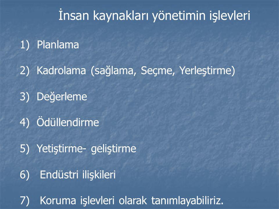 İnsan kaynakları yönetimin işlevleri 1) Planlama 2) Kadrolama (sağlama, Seçme, Yerleştirme) 3) Değerleme 4) Ödüllendirme 5) Yetiştirme- geliştirme 6)